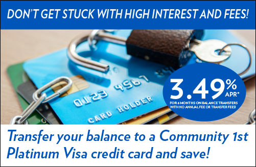 Visa Balance Transfer 3.49% for 6 months with no annual fee or transfer fees.